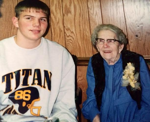 Great Grandma celebrating 100 birthdays at the Ottawa Eagles. circa 1994